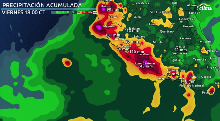 Altos acumulados de lluvias para el occidente México.
